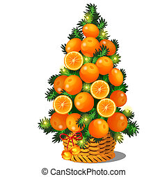 Cartoon topiary in the form of a cone Christmas tree with oranges. Sketch for greeting card, festive poster or party invitations. The attributes of Christmas and New year. Vector