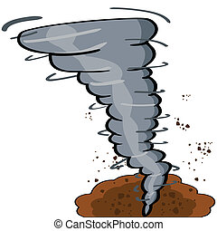 Cartoon tornado - Cartoon illustration showing a tornado...
