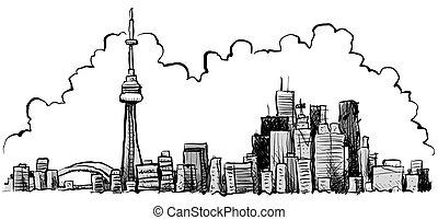 Cartoon Toronto - Cartoon of the downtown of the city of ...
