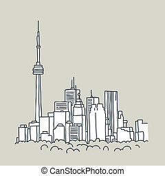 Cartoon Toronto - Cartoon of the downtown of the city of...