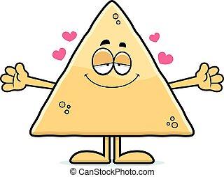 Cartoon Tortilla Chip Hug - A cartoon illustration of a...