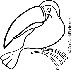 cartoon toucan for coloring book - cartoon illustration of...