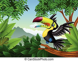 Cartoon toucan in the jungle - Vector illustration of...