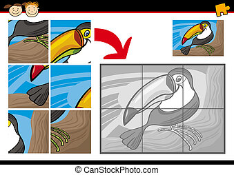 Cartoon Illustration of Education Jigsaw Puzzle Game for Preschool Children with Funny Toucan Bird