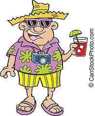 Cartoon tourist - Cartoon illustration of a tourist holding...