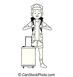 cartoon tourist with backpack icon