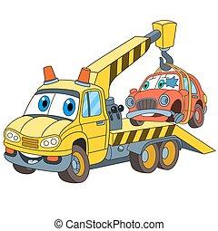 cartoon tow truck evacuator - Cartoon vehicle transport. Tow...