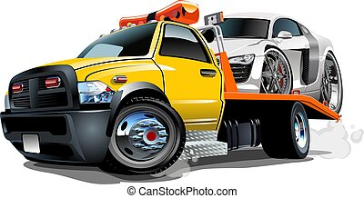 Cartoon tow truck isolated on white background. Available...