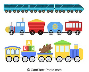 Cartoon toy train vector railroad and cartoon carriage game fun leisure joy gift locomotive transportation.