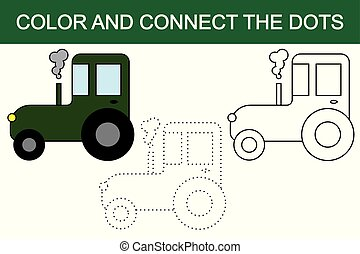 Cartoon tractor. Dot to dot educational paper game for preschool children. Color image.