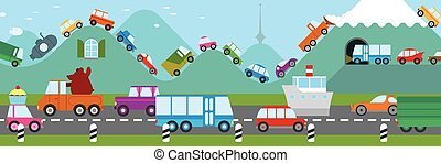 Cartoon traffic jam - Cartoon illustration of traffic on a...