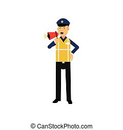 Cartoon traffic police officer standing and screaming in megaphone isolated on white
