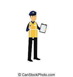Cartoon traffic policeman standing and holding clipboard with form for police report