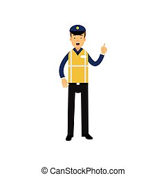 Cartoon traffic policeman standing and showing thumb up gesture, road police