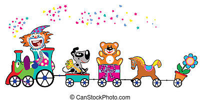 cartoon train and driver clown, children illustration isolated on white background
