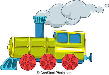 Cartoon Train - Cartoon Illustration Train Isolated on White...