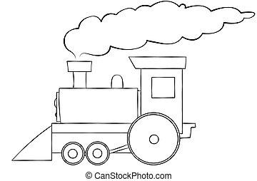 Cartoon Train Line Art - A line art illustration of a choo...