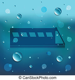 Cartoon Train on glass and water drop.EPS10