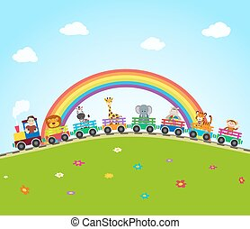 cartoon train on railroad with jungle animals and rainbow. vector