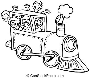 Cartoon Train Ride Line Art - Kids wave from a train.