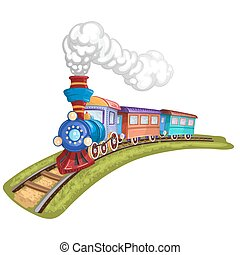 Cartoon train with colorful carriag