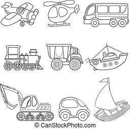 Cartoon transport. Coloring book