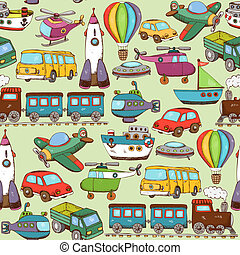 cartoon transport pattern - vector illustration cartoon...