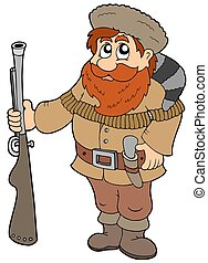 Cartoon trapper on white background - isolated illustration.