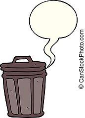 cartoon trash can and speech bubble