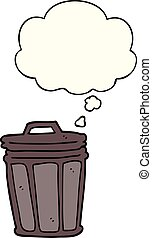 cartoon trash can and thought bubble
