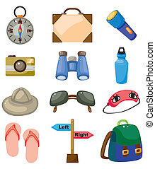 Cartoon travel icons set