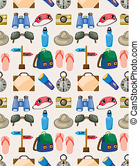 Cartoon travel seamless pattern