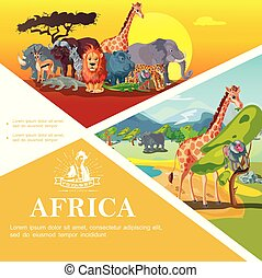 Cartoon Travel To Africa Colorful Template