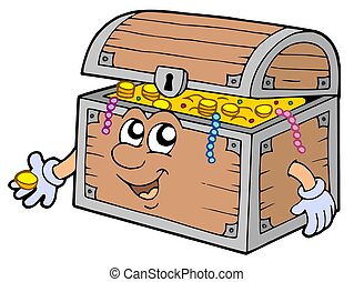 Cartoon treasure chest - isolated illustration.