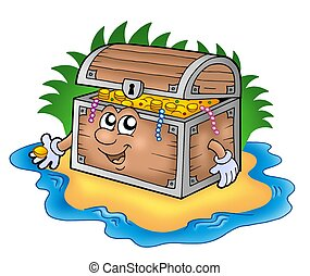 Cartoon treasure chest on island - color illustration.