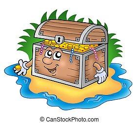 Cartoon treasure chest on island - color illustration.