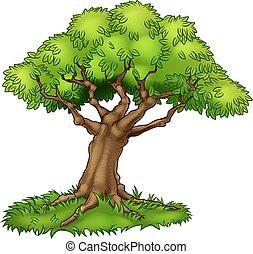 Cartoon Tree and Grass