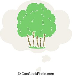cartoon tree and thought bubble in retro style