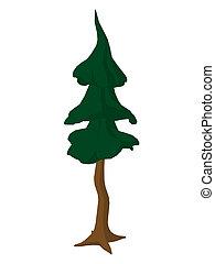 Cartoon Tree Art Illustration - Cartoon tree on a white...