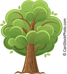 Cartoon tree, green oak tree with luxuriant foliage. vector illustration.