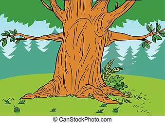 cartoon tree in the forest