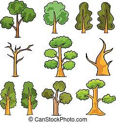 Cartoon tree set in doodles