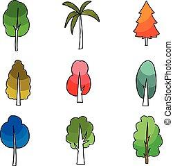 Cartoon tree set on doodles