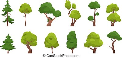 Cartoon tree. Simple flat forest flora, coniferous and ...