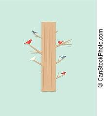 cartoon tree with birds