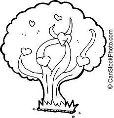 cartoon tree with hearts
