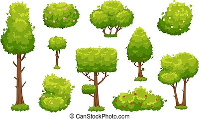 Cartoon trees and bushes. Green plants with flowers for vegetation landscape. Nature forest tree and hedge bush vector set
