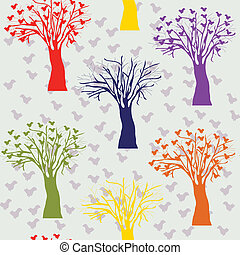 Cartoon trees color seamless pattern