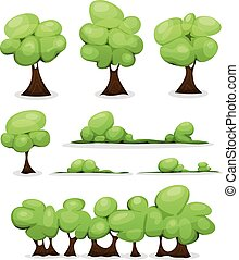 Cartoon Trees, Hedges And Bush Leaves Set