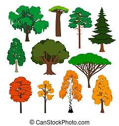 Cartoon trees icons set